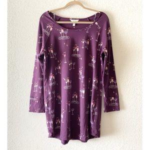 Soma Champagne Flute Print Sleep Top Purple Large